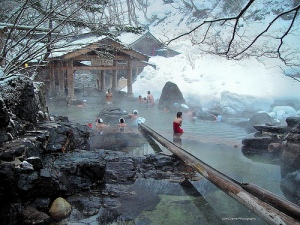"""rotenburo"" or fresh-air hotspring. gunma-ken, japan."